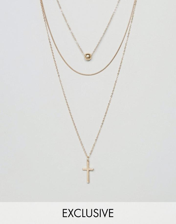 Reclaimed Vintage Inspired Cross Multirow Necklace - Gold