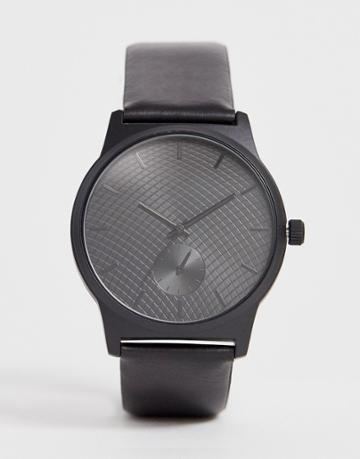 Asos Design Watch In Black With Sub Dial Detail - Black