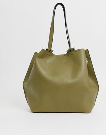 Asos Design Bonded Shopper Bag With Reverse Seam Detail - Green