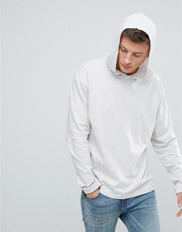 New Look Long Sleeve T-shirt With Hood In Light Gray - Gray