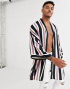 Asos Design Kimono In Neon Stripe - Black