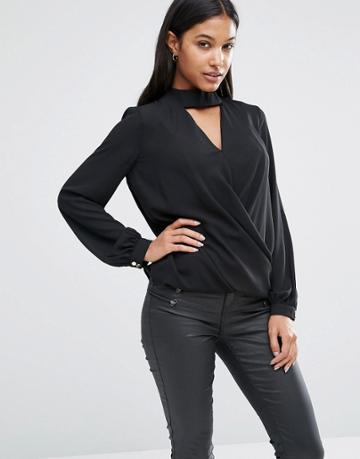 Lipsy Wrap Front Blouse With Choker Detail - Black
