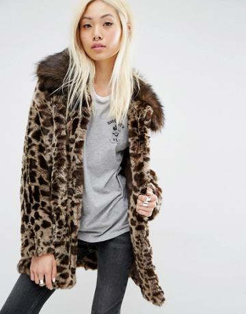Unreal Fur Faux Fur Leopard Coat - Brown