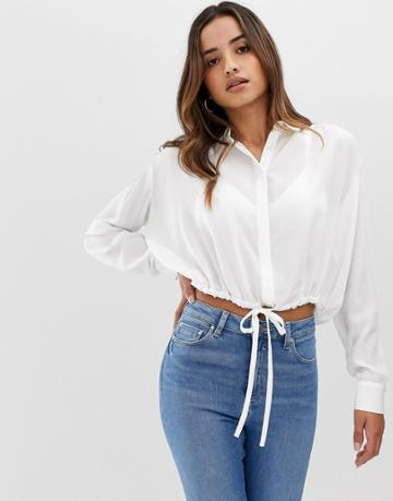 Asos Design Soft Long Sleeve Shirt With Tie Waist Detail - White