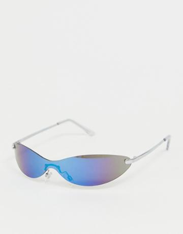 Asos Design Skinny Visor Cat Eye Fashion Glasses In Blue Flash Lens - Silver
