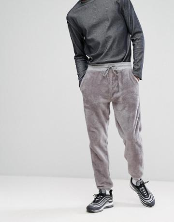 Asos Slim Jogger In Fleece - Gray
