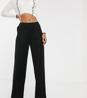 Noisy May Tall Wide Leg Pants In Black - Black