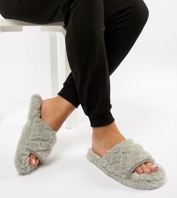 Asos Design Nita Wide Fit Quilted Loungewear Slippers - Gray