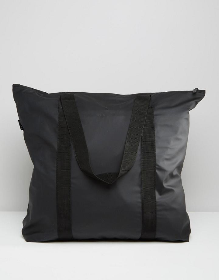 Rains Large Tote Bag In Black - Black
