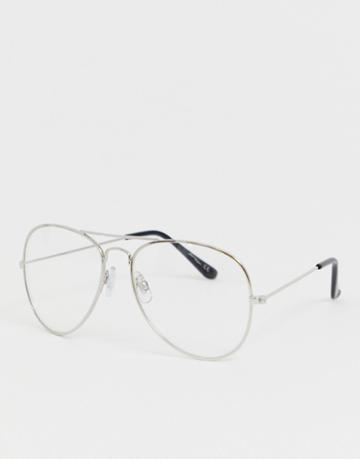 Jeepers Peepers Clear Lens Aviator Glasses In Silver - Silver