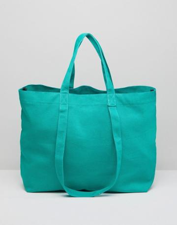 Asos Sustainable Cotton Double Handle Summer Shopper - Green