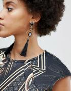Asos Sleek Resin Shape And Tassel Drop Earrings - Gold