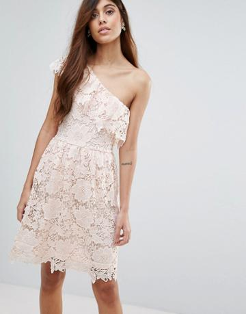 Vero Moda Lace One Shoulder Dress - Pink