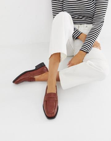 Asos Design Madora Premium Leather Loafers - Brown