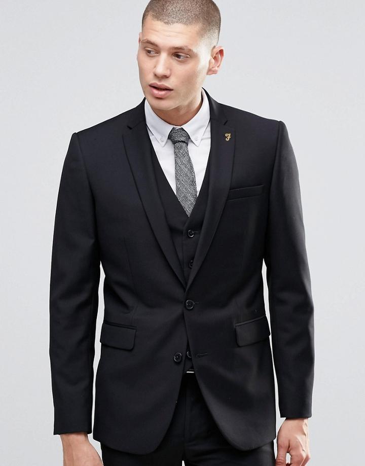 Farah Skinny Suit Jacket In Black - Black