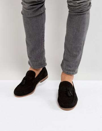 Asos Tassel Loafers In Black Suede - Black