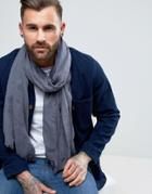 Asos Lightweight Blanket Scarf In Denim Look - Blue