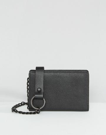 Asos Leather Wallet In Black With Chain - Black