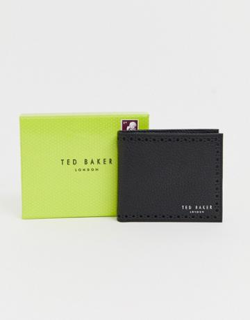 Ted Baker Cobler Rfid Card And Coin Brogue Detail Wallet In Black