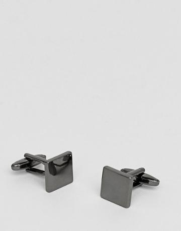 Icon Brand Square Cufflinks In Gunmetal - Silver