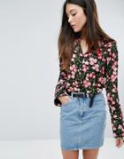 Warehouse Cherry Blossom Printed Blouse - Black