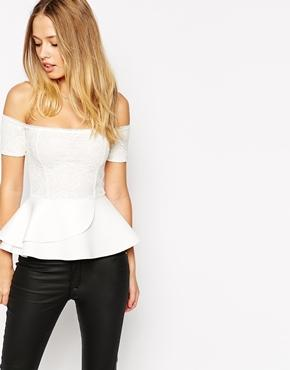 Asos Peplum Top With Bardot Off Shoulder In Bonded Lace - Cream
