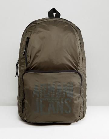 Armani Jeans Packaway Nylon Ripstop Backpack In Khaki - Green