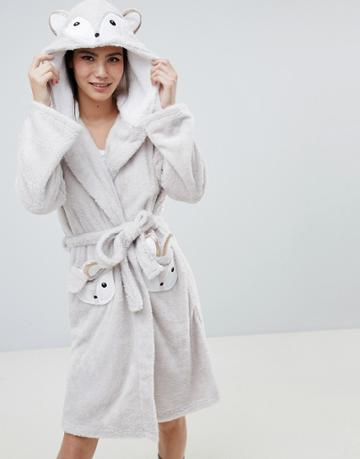 Loungeable Fuzzy Sherpa Fleece Squirrel Robe - Brown