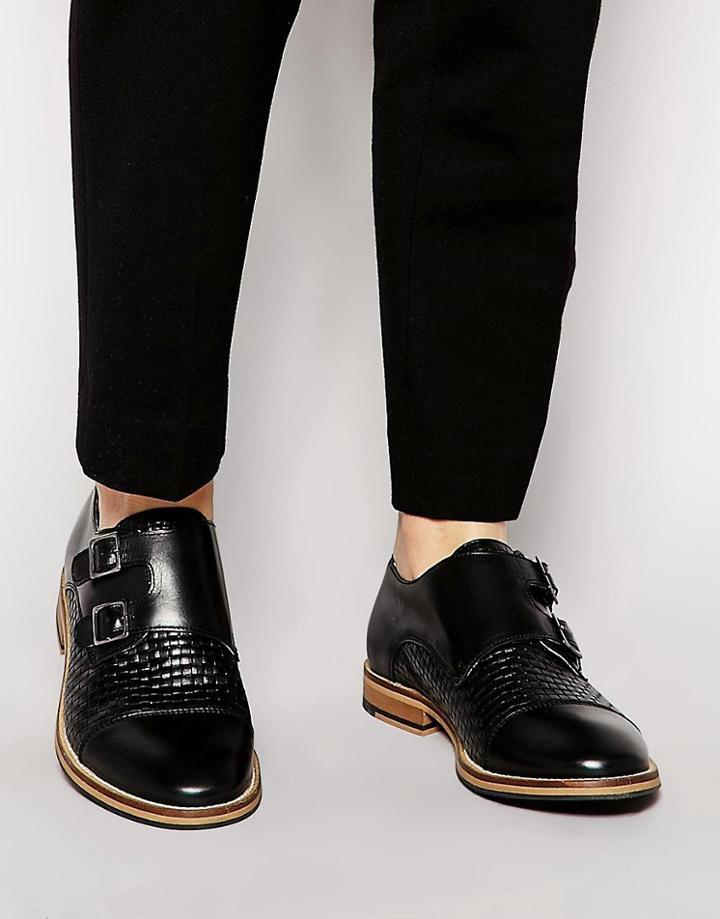 Shoe The Bear Leather Monk Shoes - Black