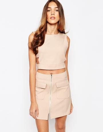 Lola May Crop Top With Cut Out - Nude