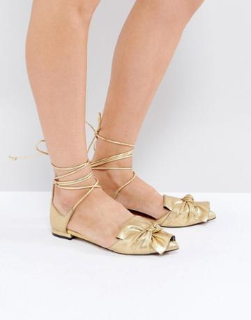 Asos Lottery Knotted Ballet Flats - Gold