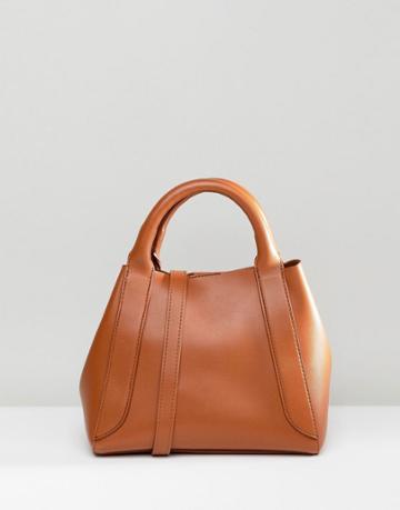 Asos Design Mini Tuck Side Bonded Shopper Bag - Tan