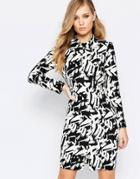 Sisley Longsleeve Dress In Black Graphic Print - Black