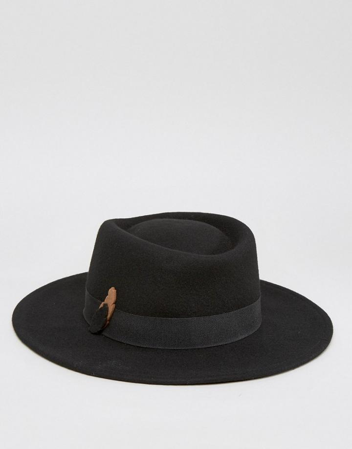 Asos Fedora Hat With Contrast Felt Feather Band - Black