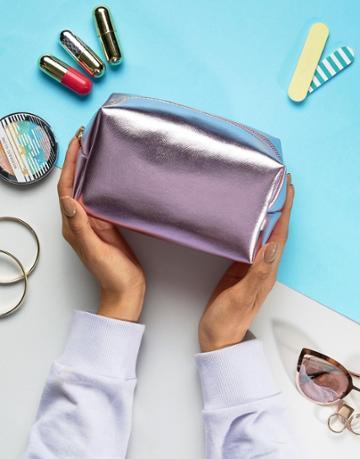 South Beach Pink Metallic Makeup Bag - Pink