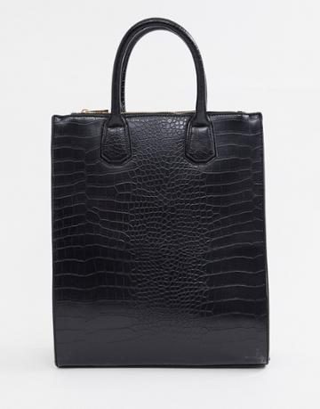 Asos Design Double Zip Compartment Croc Tote Bag With Laptop Compartment - Black