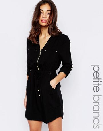 New Look Petite Zip Detail Shirt Dress - Black