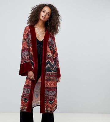 Kiss The Sky Longline Kimono With Velvet Trim In Celestial Print - Red