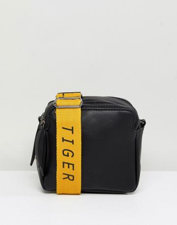 Pieces Cross Body Bag With Slogan Strap - Black