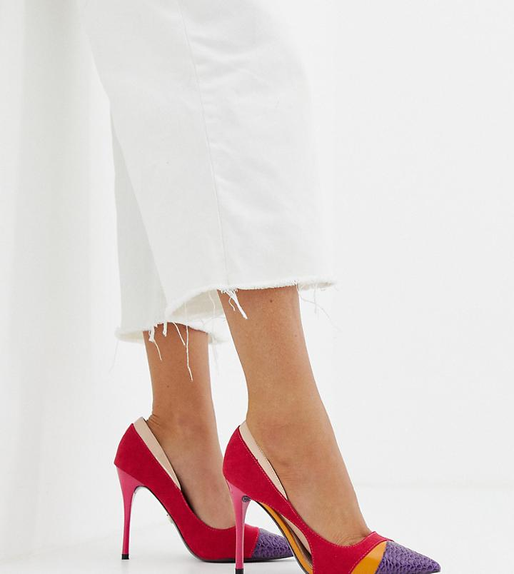 River Island Cut Out Court Heels In Pink - Multi