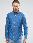 Lee Denim Diamond Print Shirt Buttondown - Snorkel Blue