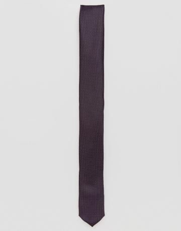 Asos Slim Tie In Dark Purple Print - Purple