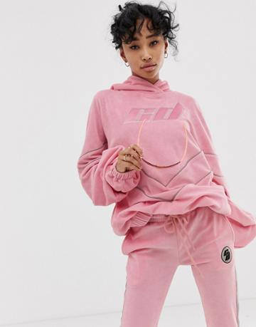 Criminal Damage Extreme Oversized Hoodie With Reflective Logo Two-piece - Pink