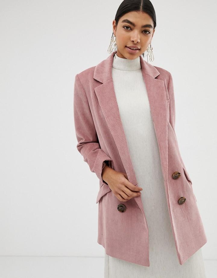 Asos Design Cord Boyfriend Coat - Pink