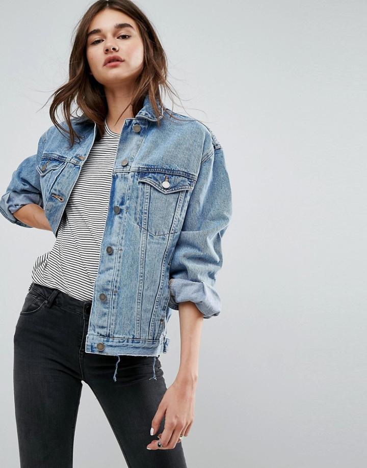 Asos Denim Girlfriend Recycled Jacket In Missouri Blue Wash - Blue