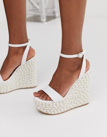 Asos Design Justina Espadrille Wedges In White