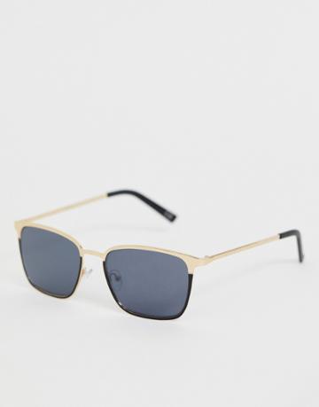 Asos Design Metal Retro Sunglasses In Black With Smoke Lens And Gold Detail - Black