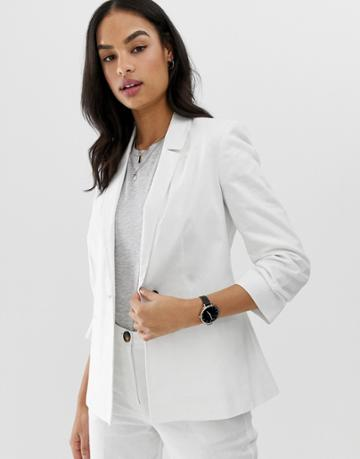 Asos Design Linen Blazer With Ruched Sleeve - White
