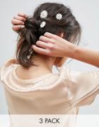 Asos Pack Of 3 Faux Pearl Flower Hair Grips - Cream