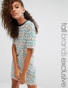 Fila Tall Oversized Motif Print Tshirt Dress - Multi